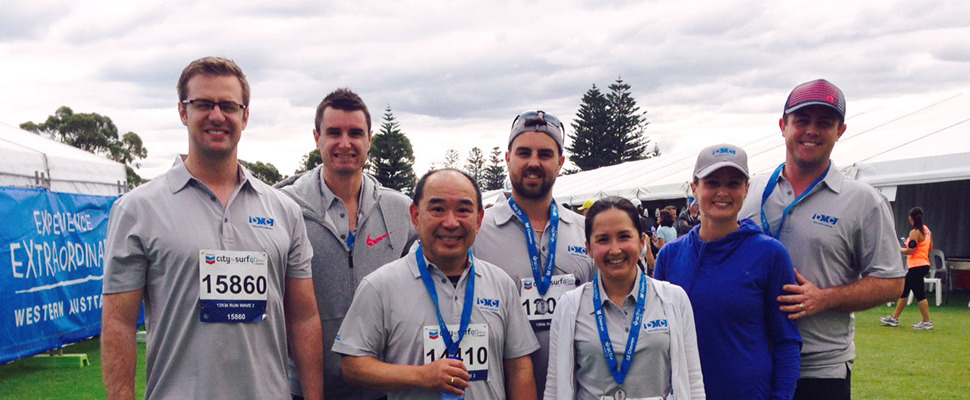 Part of the DMC City to Surf Team after the race
